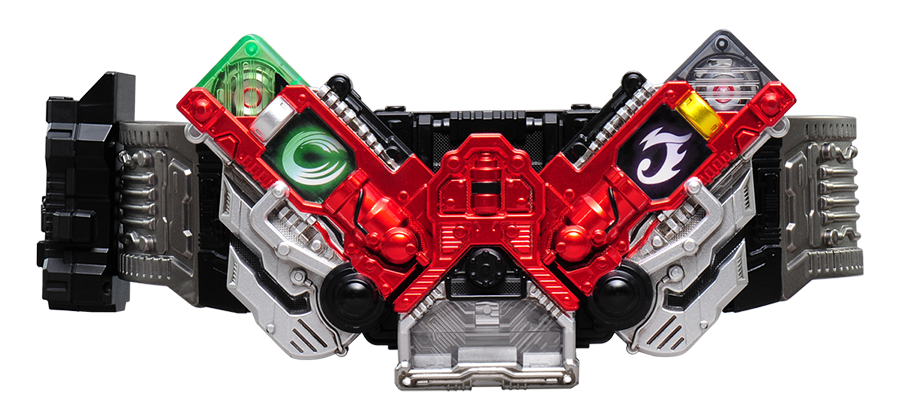 Two different GAIA MEMORIES are loaded into left and right slots of DOUBLEDRIVER and deployed to trigger a HENSHIN sound.