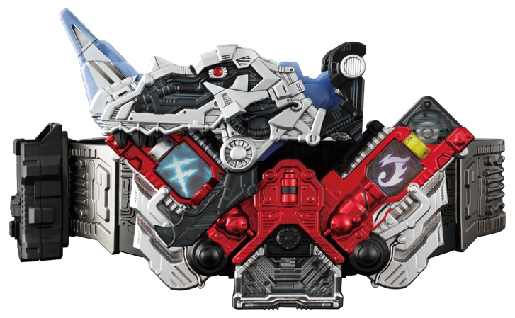 "By transforming it into a memory state, it can be loaded into ""CSM DOUBLEDRIVER"". You can see the powerful ""red eyes"" of the FANG when loading."