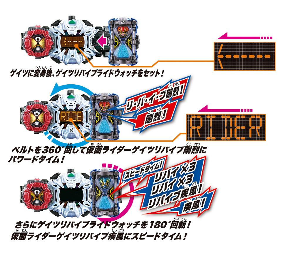 ①「変身ベルト DXジクウドライバー」(別売)で仮面ライダーゲイツリバイブにパワード&スピードタイム!